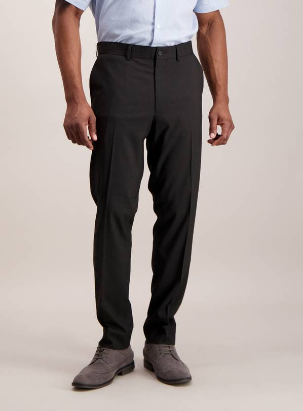 Black Textured Slim Fit Trousers With Stretch - W34 L29