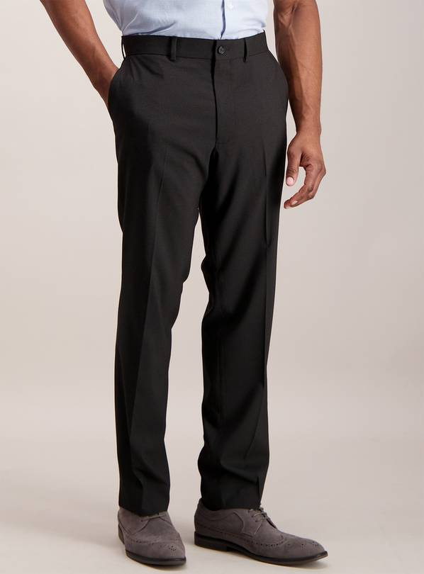 Black Textured Tailored Fit Stretch Trousers - W36 L33