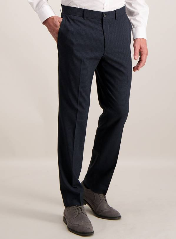 Navy Blue Grid Slim Fit Trousers With Stretch - W42 L31