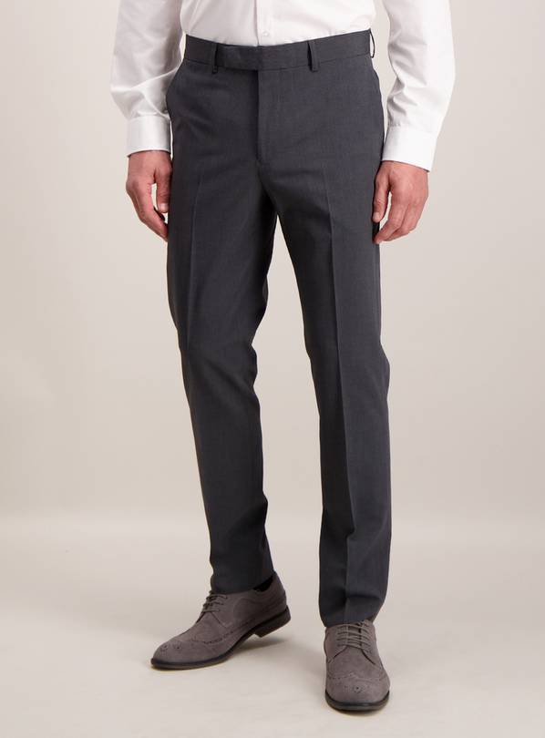 Charcoal Grey Mini Texture Slim Fit Suit Trousers - W34 L29