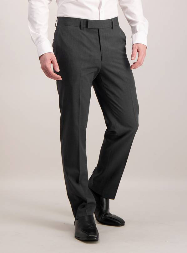 Charcoal Tailored Fit Textured Suit Trousers - W32 L33