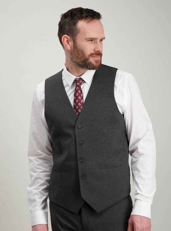Charcoal Grey Mini Texture Tailored Fit Waistcoat - 50L