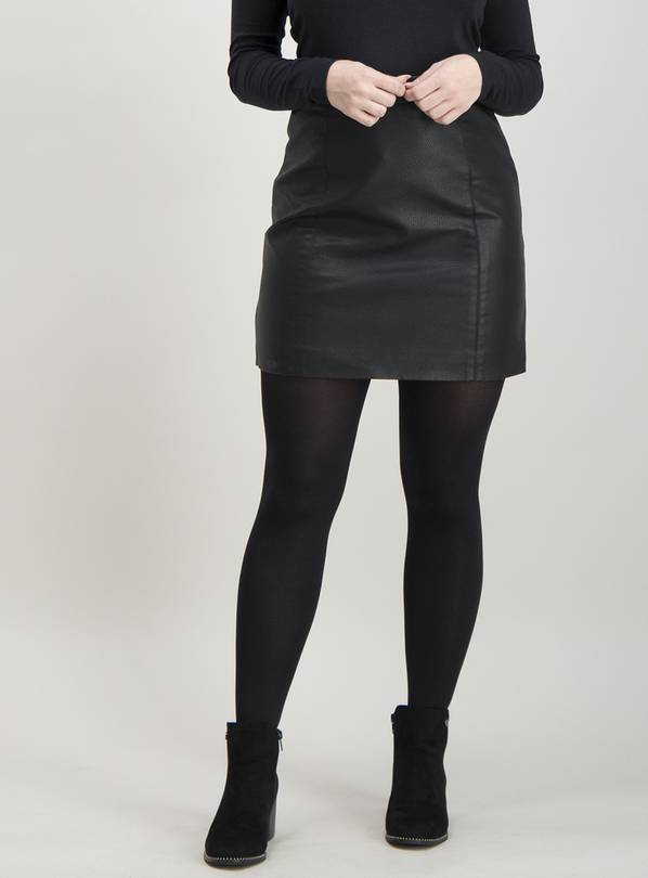Online Exclusive PETITE Black Coated A-Line Mini Skirt - 22