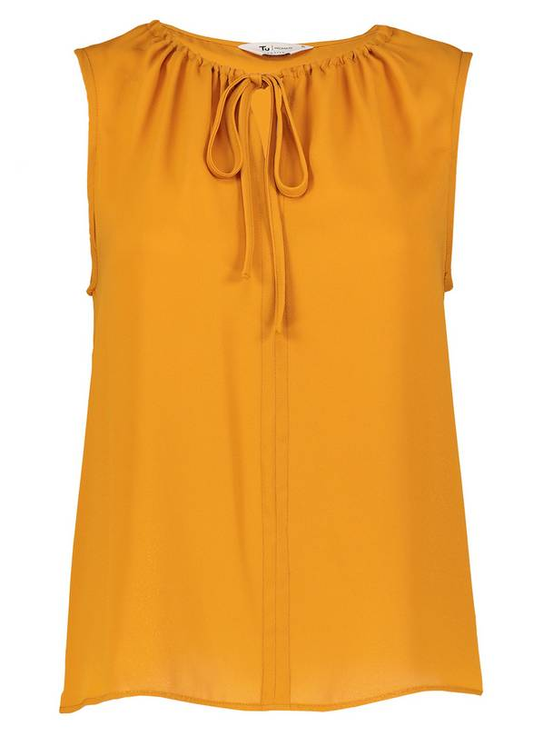PETITE Online Exclusive Mustard Tie Front Sleeveless Blouse