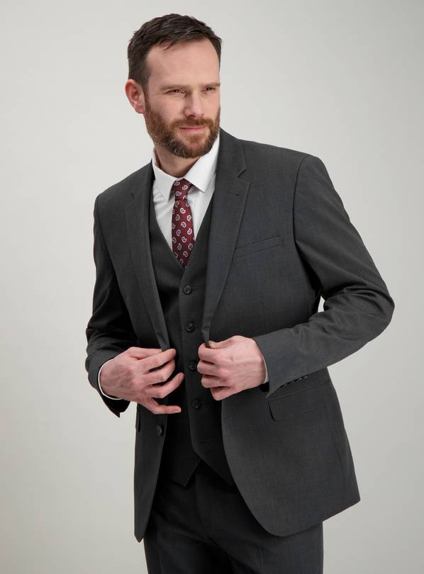Charcoal Slim Fit Mini Texture Suit Jacket - 38S