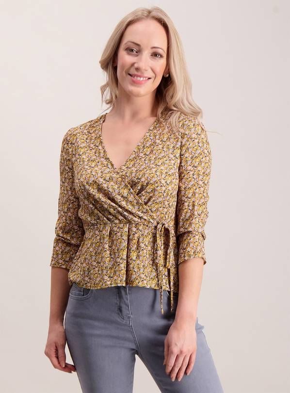 PETITE Online Exclusive Mustard Wrap Top - 20