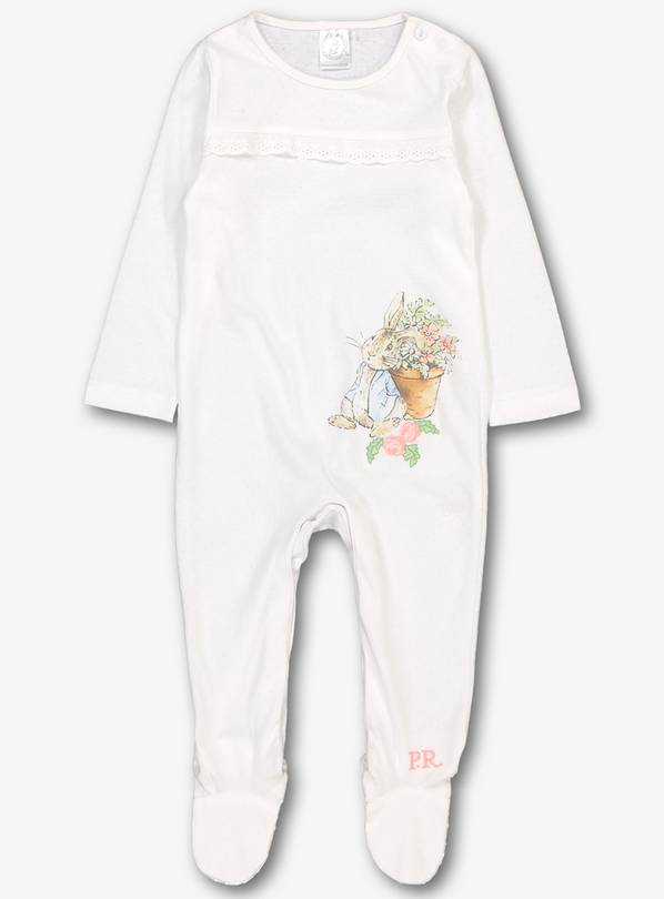 Peter Rabbit White & Pink Sleepsuit - Up to 1 mth