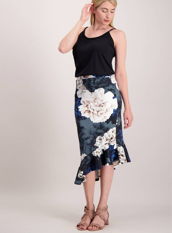 Online Exclusive Multicoloured Floral Asymmetrical Skirt - 2