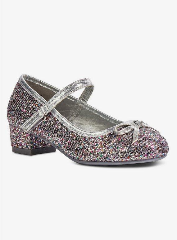 Buy Silver Glitter Heeled Party Shoe - 11 Infant  fbaf316d5