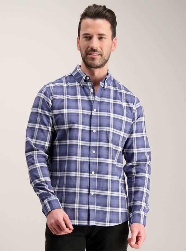 d1b4573a8 Buy Blue Check Regular Fit Oxford Shirt - M | Casual shirts | Argos