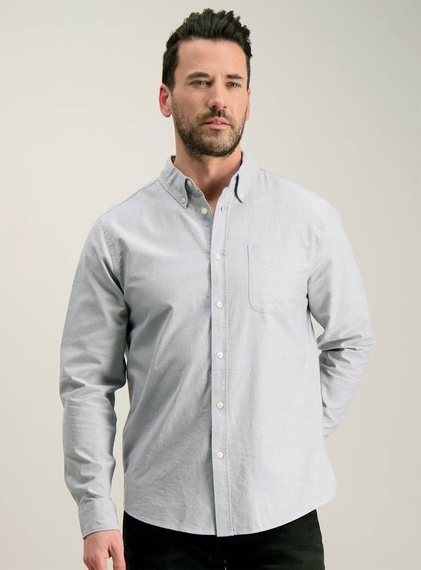 Online Exclusive Silver Grey Regular Fit Oxford Shirt - S