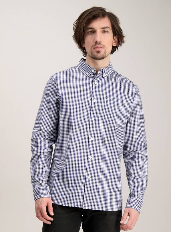 Online Exclusive Slim Fit Navy Gingham Check Shirt - XL