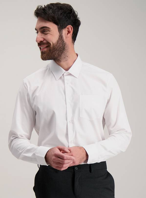 White Regular Fit Long Sleeve Shirts 2 Pack - 18.5
