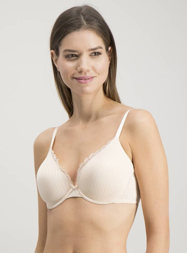 Nude Rose & Ivory Lace Trim Full Cup Bras 2 Pack - 34A