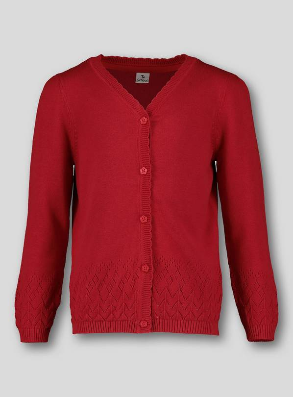Red Pointelle Cardigan - 13 years