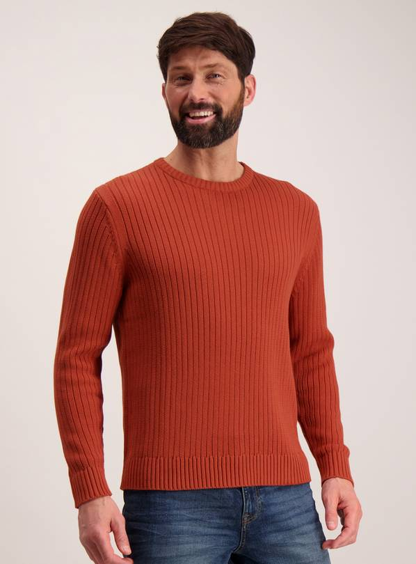 Navy Fisherman Rib Crew Neck Jumper - L