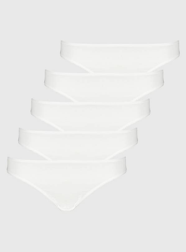 White High Leg Knickers 5 Pack - 6