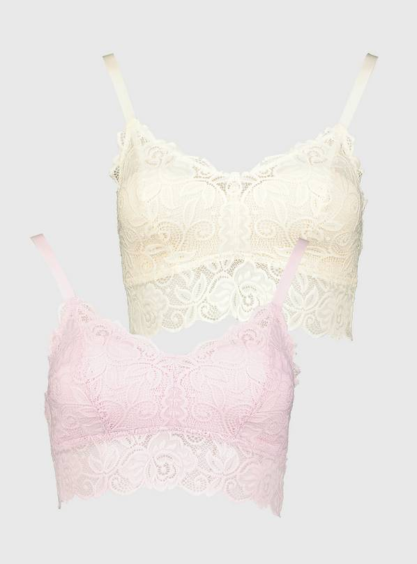 Pink & Ivory Lace Soft Bralette 2 Pack - 8
