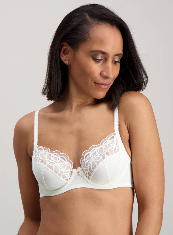 Ivory Luxury Embroidered Full Cup Bra Underwired - 34E