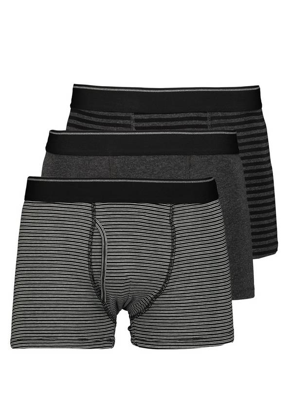 Black Striped Trunks 3 Pack - S