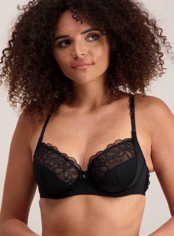 Black Luxury Embroidered Full Cup Underwired Bra - 38E