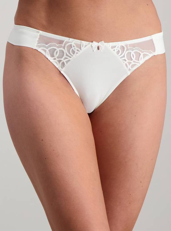 Online Exclusive Ivory Lace Thong - 16