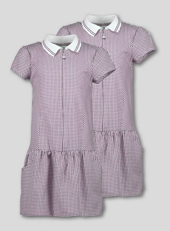 f8d639028ff Buy Burgundy Sporty Gingham School Dress 2 Pack - 3 years