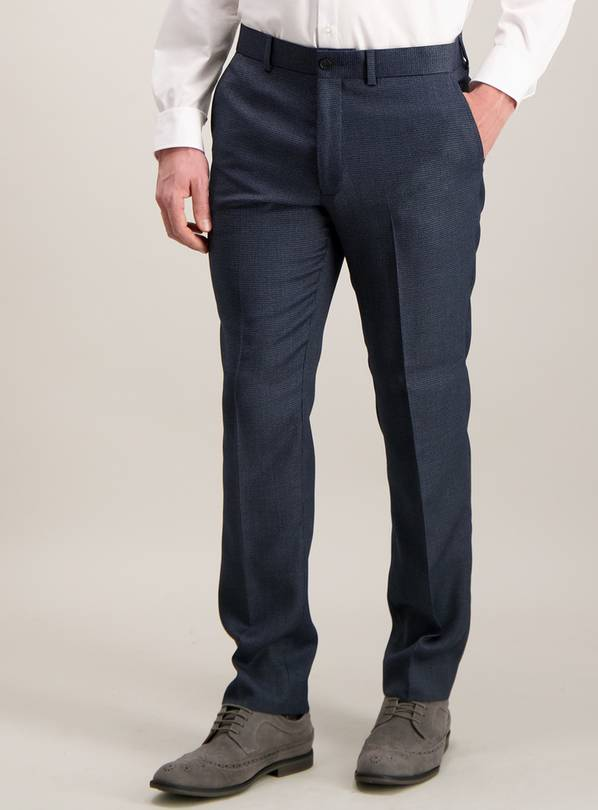 Blue Puppytooth Check Slim Fit Suit Trousers - W42 L29
