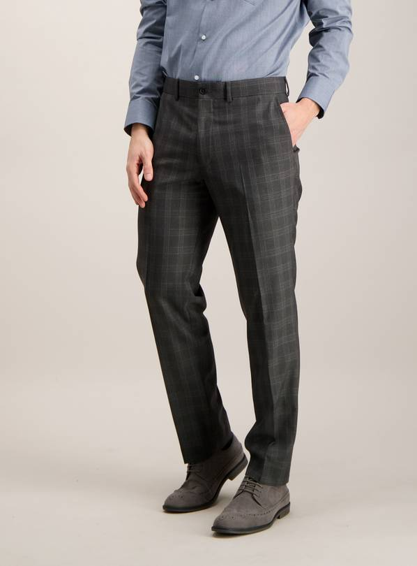 Grey Check Tailored Fit Trousers - W38 L35