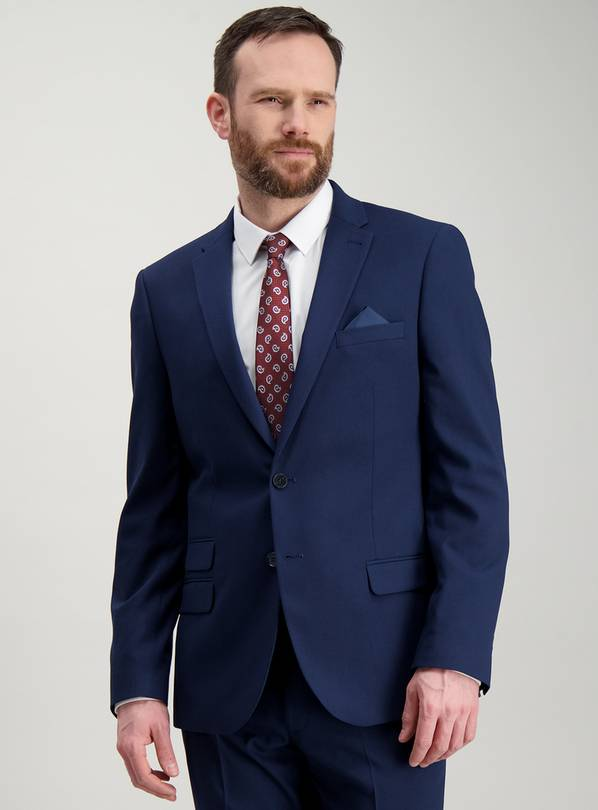 Cobalt Blue Stretch Slim Fit Suit Jacket - 42L