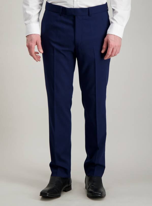 Cobalt Blue Slim Fit Stretch Suit Trousers - W42 L31