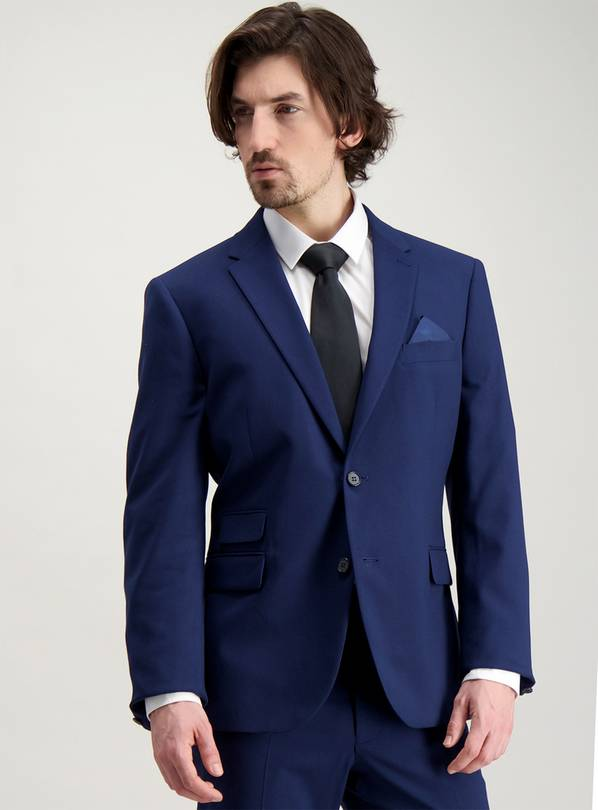 Cobalt Blue Tailored Fit Suit Jacket - 46R