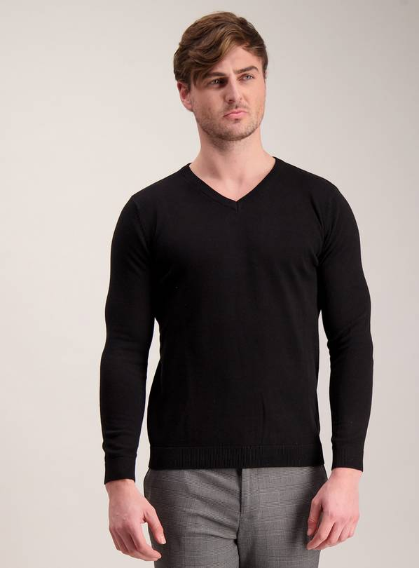 Black V-Neck Jumper - XL