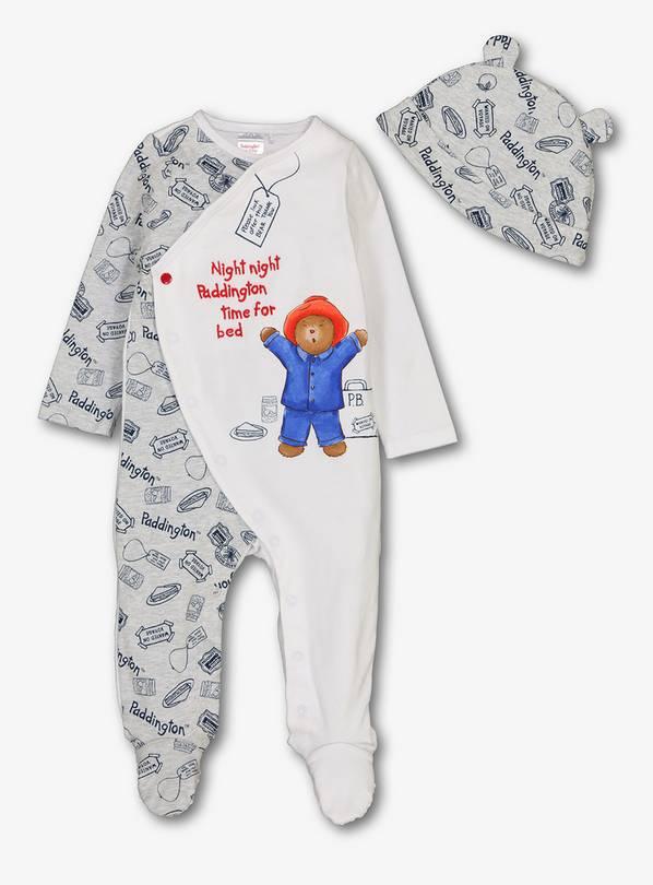 57e575532 Buy Paddington Bear White Sleepsuit   Hat Set - 9-12 months ...