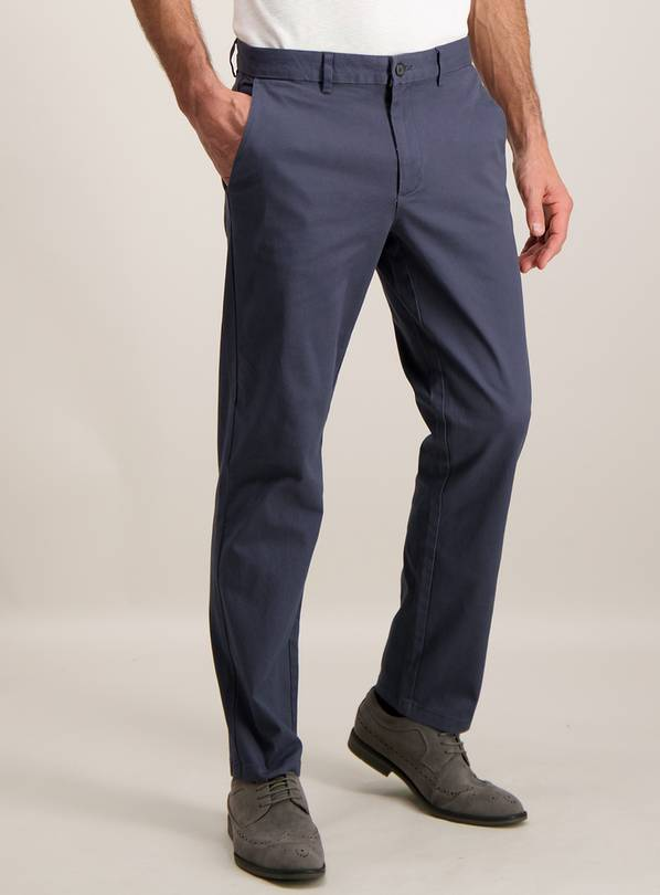 Online Exclusive Washed Navy Blue Straight Leg Chino with St