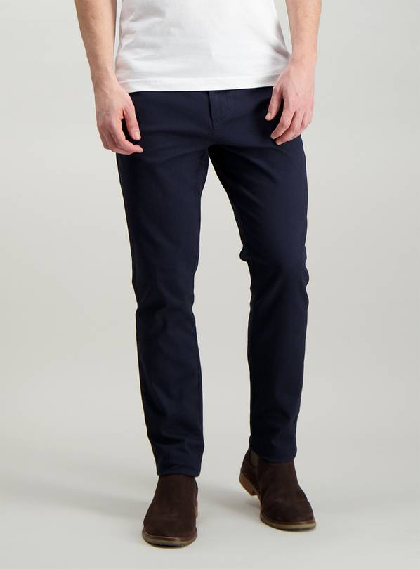 Navy Blue Slim Fit Chinos With Stretch - W32 L30