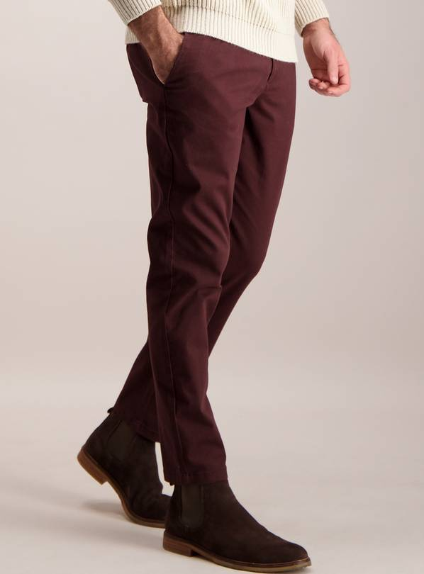 Burgundy Slim Fit Chinos With Stretch - W34 L32