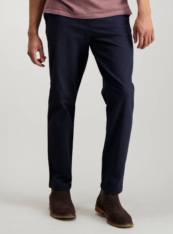 Navy Blue Tapered Fit Chinos With Stretch - W36 L32