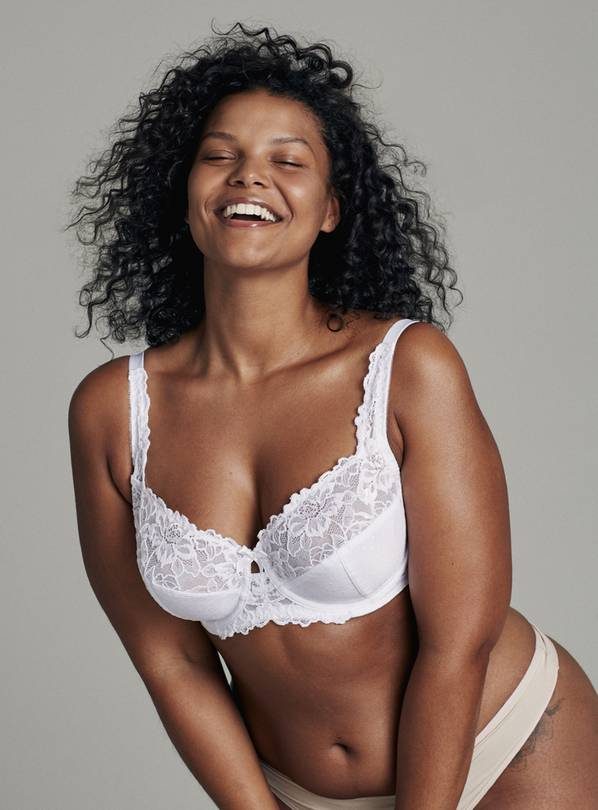 DD+ White Comfort Lace Full Cup Bra - 34DD