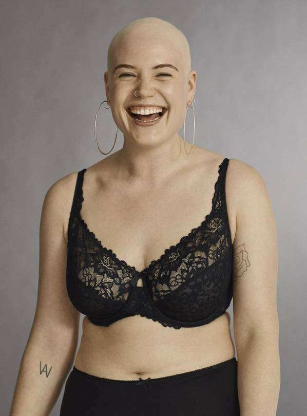 Black Comfort Lace Full Cup Bra - 44E