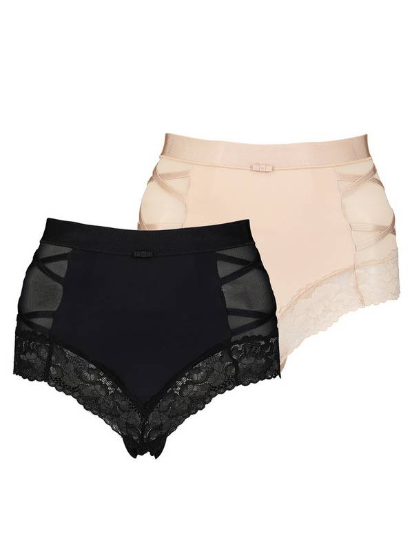 Secret Shaping Black & Latte Nude Lace Trim Knickers 2 Pack
