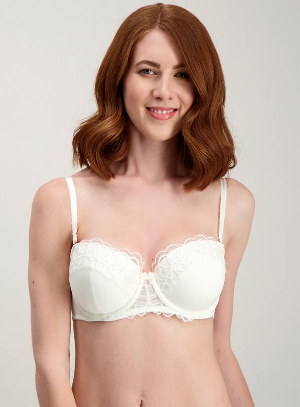 Online Exclusive Ivory Lace Trim Balcony Bra - 32E