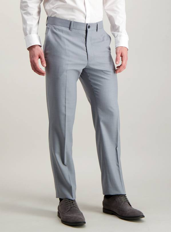 Light Grey Tailored Fit Trousers With Stretch - W40 L31
