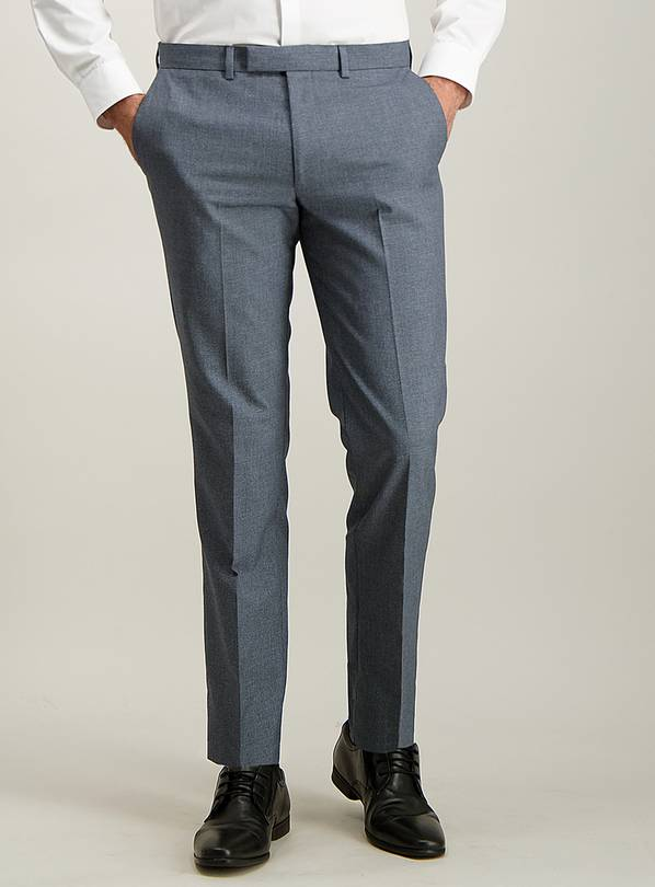 Blue Melange Tailored Fit Trousers - W34 L29