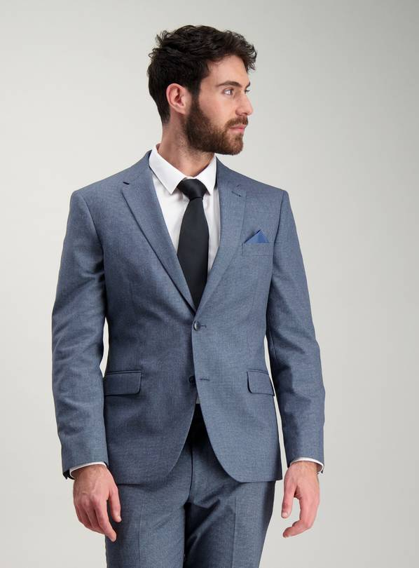 Blue Tailored Fit Melange Jacket - 46L