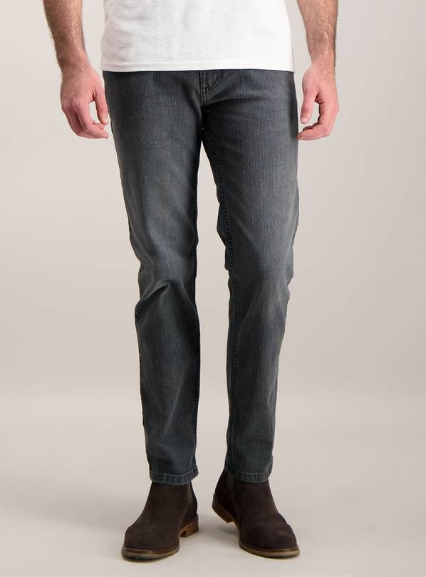 Online Exclusive Grey Denim Slim Fit Jeans With Stretch - W3