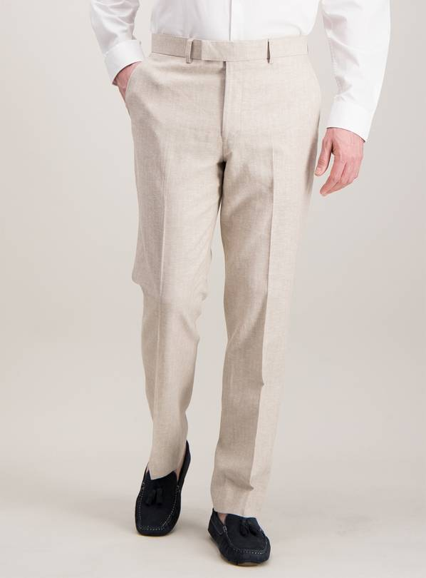 Stone Herringbone Tailored Fit Linen Blend Suit Trousers - W