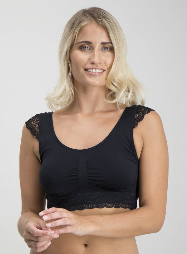 Black Lace Shoulder Seamless Crop Top - S