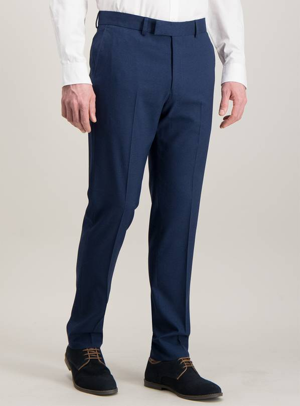 Cobalt Blue Tuxedo Slim Fit Suit Trousers With Stretch - W30