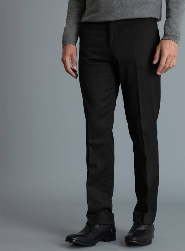 Black Tailored Fit Trousers With Stretch - W36 L35